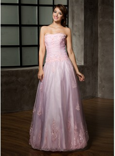 A-Line/Princess Strapless Floor-Length Organza Quinceanera Dress With Ruffle Lace Beading (021002858)