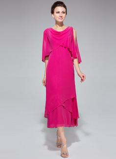 A-Linie/Princess-Linie Wasserfallausschnitt Wadenlang Chiffon Kleid für die Brautmutter mit Perlstickerei Pailletten Gestufte Rüschen (008042888)