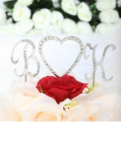 Monogram/Heart Chrome Wedding Cake Topper (119030807)