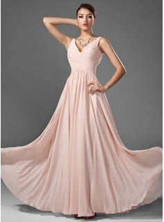 Prom Dresses A-Line/Princess V-neck Floor-Length Chiffon Prom Dress With Ruffle (018005068)