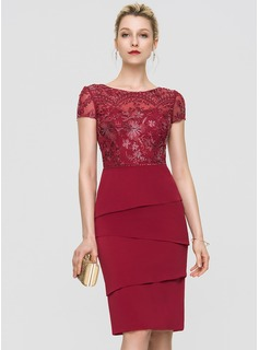 Sheath/Column Scoop Neck Knee-Length Stretch Crepe Cocktail Dress With Beading Sequins (016197102)