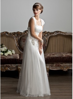 Robe de Marie Ligne-A/Princesse Encolure carre Longeur au sol Tulle Robe de Marie avec Ondul Perl (002011588)