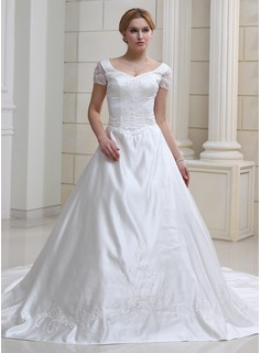 Ball-Gown Sweetheart Chapel Train Organza Satin Wedding Dress With Embroidered Beading (002011993)