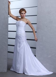 Forme Princesse Sans bretelle Traîne courte Taffeta Robe de mariée avec Plissé Emperler (002000439)