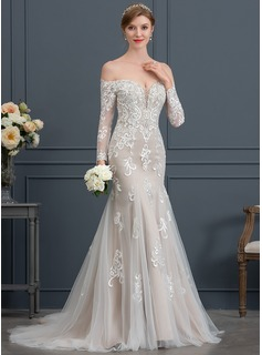 Trumpet/Mermaid Off-the-Shoulder Court Train Tulle Wedding Dress With Beading Sequins (002171964)