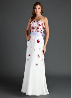 A-Line/Princess Strapless Floor-Length Chiffon Holiday Dress With Sash Beading Flower(s) Bow(s) (020025981)