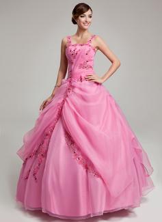 Duchesse-Linie Bodenlang Organza Quinceañera Kleid (Kleid für die Geburtstagsfeier) mit Rüschen Perlen verziert Applikationen Spitze (021017547)