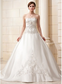 Ball-Gown Sweetheart Cathedral Train Satin Wedding Dress With Embroidery Beading (002011582)