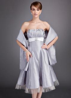 A-Linie/Princess-Linie Herzausschnitt Wadenlang Taft Brautjungfernkleid mit Rüschen Schleifenbänder/Stoffgürtel Kristalle Blumen Brosche (007020952)