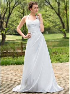 A-Line/Princess Halter Court Train Taffeta Wedding Dress With Ruffle (002011784)