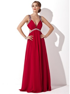 Prom Dresses A-Line/Princess V-neck Floor-Length Chiffon Prom Dress With Ruffle Beading Sequins (018004792)