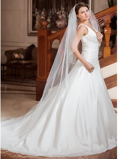 One-tier Beaded Edge Cathedral Bridal Veils With Beading (006024434)