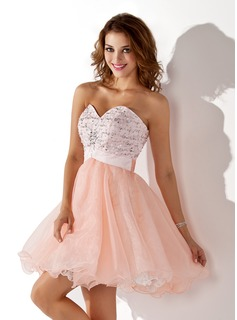 A-Line/Princess Sweetheart Short/Mini Organza Satin Homecoming Dress With Beading Sequins (022009078)