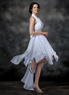 A-formet/Prinsesse Grime Asymmetrisk Chiffong Ballkjole med Perlebesydd Paljetter Sløyfe (r) Brusende Volanger (022009540)