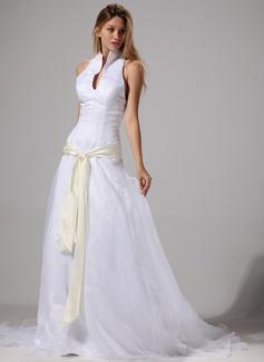 Forme Princesse Dos nu Traîne moyenne Organza Robe de mariée avec Ceintures (002004777)
