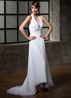 Forme Princesse Dos nu Traîne asymétrique Mousseline Robe de mariée avec Plissé Emperler Sequins (002011696)