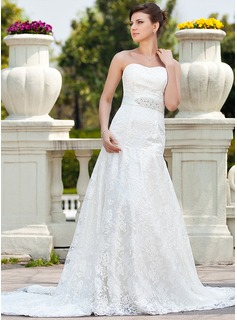 A-Line/Princess Sweetheart Chapel Train Satin Lace Wedding Dress With Beadwork (002000118)