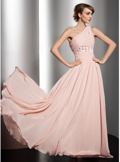 A-Line/Princess One-Shoulder Floor-Length Chiffon Holiday Dress With Ruffle Beading Flower(s) (020014547)