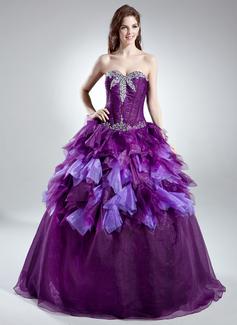 Duchesse-Linie Herzausschnitt Bodenlang Organza Quinceañera Kleid (Kleid für die Geburtstagsfeier) mit Perlen verziert Gestufte Rüschen (021016027)