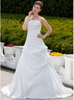 Ball-Gown Strapless Chapel Train Taffeta Wedding Dress With Ruffle Lace Beadwork (002001343)