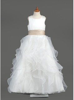 A-Line/Princess Scoop Neck Floor-Length Organza Satin Flower Girl Dress With Sash Cascading Ruffles (010005799)