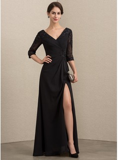 A-Line V-neck Floor-Length Chiffon Lace Evening Dress With Beading Sequins Split Front (017192575)