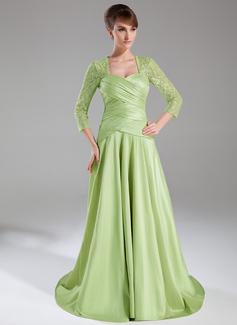 A-Linie/Princess-Linie Herzausschnitt Sweep/Pinsel zug Taft Spitze Kleid für die Brautmutter mit Rüschen (008005950)