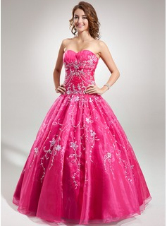 Ball-Gown Sweetheart Floor-Length Organza Quinceanera Dress With Embroidered Beading Sequins (021016727)
