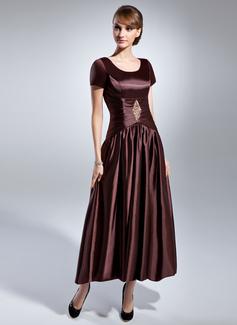 A-Linie/Princess-Linie U-Ausschnitt Knöchellang Charmeuse Kleid für die Brautmutter mit Rüschen Perlen verziert (008015054)