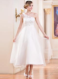 Forme Princesse Encolure asymétrique Longueur mollet Satiné Tulle Robe de mariée avec Plissé Emperler Fleur(s) Sequins (002047393)