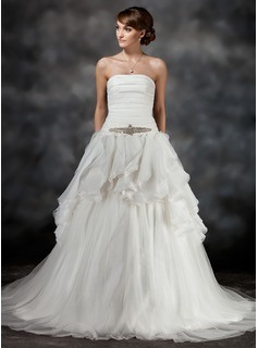 Ball-Gown Strapless Chapel Train Satin Tulle Wedding Dress With Beading Cascading Ruffles (002017428)