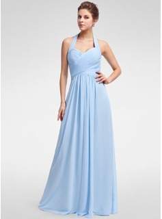 A-Line/Princess Halter Floor-Length Chiffon Bridesmaid Dress With Ruffle (007025356)