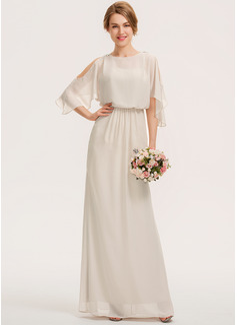 Sheath/Column Scoop Neck Floor-Length Chiffon Bridesmaid Dress With Cascading Ruffles (007190691)