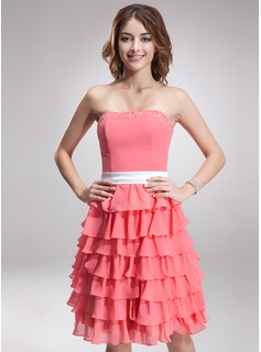 A-Line/Princess Strapless Knee-Length Chiffon Charmeuse Bridesmaid Dress With Sash Beading Cascading Ruffles (007000922)
