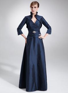 A-Linie/Princess-Linie V-Ausschnitt Bodenlang Taft Kleid für die Brautmutter mit Rüschen Perlen verziert (008006199)