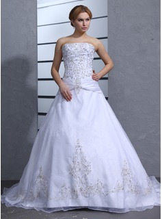 Ball-Gown Strapless Chapel Train Organza Satin Wedding Dress With Embroidery Beading (002000239)