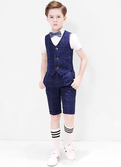 Boys 4 stycken Pläd Passar till ringbärare /Page Boy Suits med Skjorta Väst Fluga Shorts (287204949)