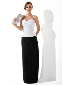 Etui-Linie Herzausschnitt Bodenlang Satin Abendkleid mit Rüschen Perlen verziert (017025909)