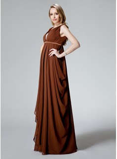 Empire V-neck Floor-Length Chiffon Maternity Bridesmaid Dress With Ruffle (045022467)