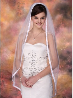 One-tier Fingertip Bridal Veils With Ribbon Edge (006003952)