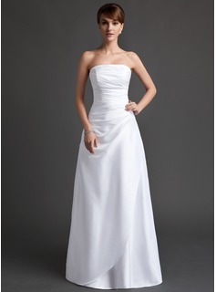 A-Line/Princess Strapless Floor-Length Taffeta Bridesmaid Dress With Ruffle (007001070)
