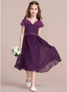 A-Line/Princess V-neck Tea-Length Chiffon Junior Bridesmaid Dress With Bow(s) (009097064)