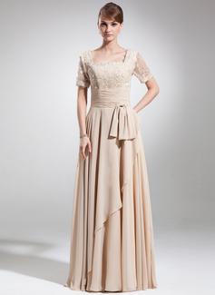 A-Linie/Princess-Linie Rechteckiger Ausschnitt Bodenlang Chiffon Kleid für die Brautmutter mit Rüschen Perlstickerei Schleife(n) (008006154)