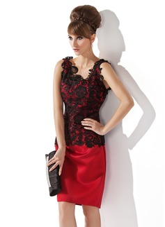 Etui-Linie U-Ausschnitt Knielang Satin Spitze Kleid für die Brautmutter (008006063)