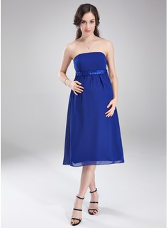 Empire Strapless Knee-Length Chiffon Maternity Bridesmaid Dress With Ruffle Sash (045004407)