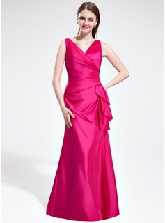 Mermaid V-neck Floor-Length Taffeta Bridesmaid Dress With Ruffle (007025366)