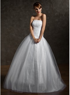 Ball-Gown Strapless Floor-Length Taffeta Tulle Quinceanera Dress With Ruffle Beading (021002869)