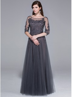 A-Line/Princess Scoop Neck Floor-Length Tulle Evening Dress With Lace Beading Sequins (017025440)