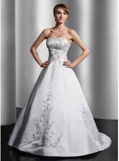 Ball-Gown Strapless Court Train Satin Wedding Dress With Embroidery Sash Beading (002014809)