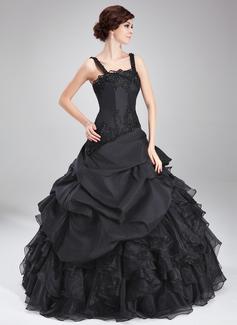 Duchesse-Linie Rechteckiger Ausschnitt Bodenlang Taft Organza Quinceañera Kleid (Kleid für die Geburtstagsfeier) mit Perlen verziert Applikationen Spitze Gestufte Rüschen (021018812)